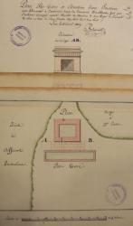 Plan parterre et élévation d'une fontaine, Amblans et Velotte